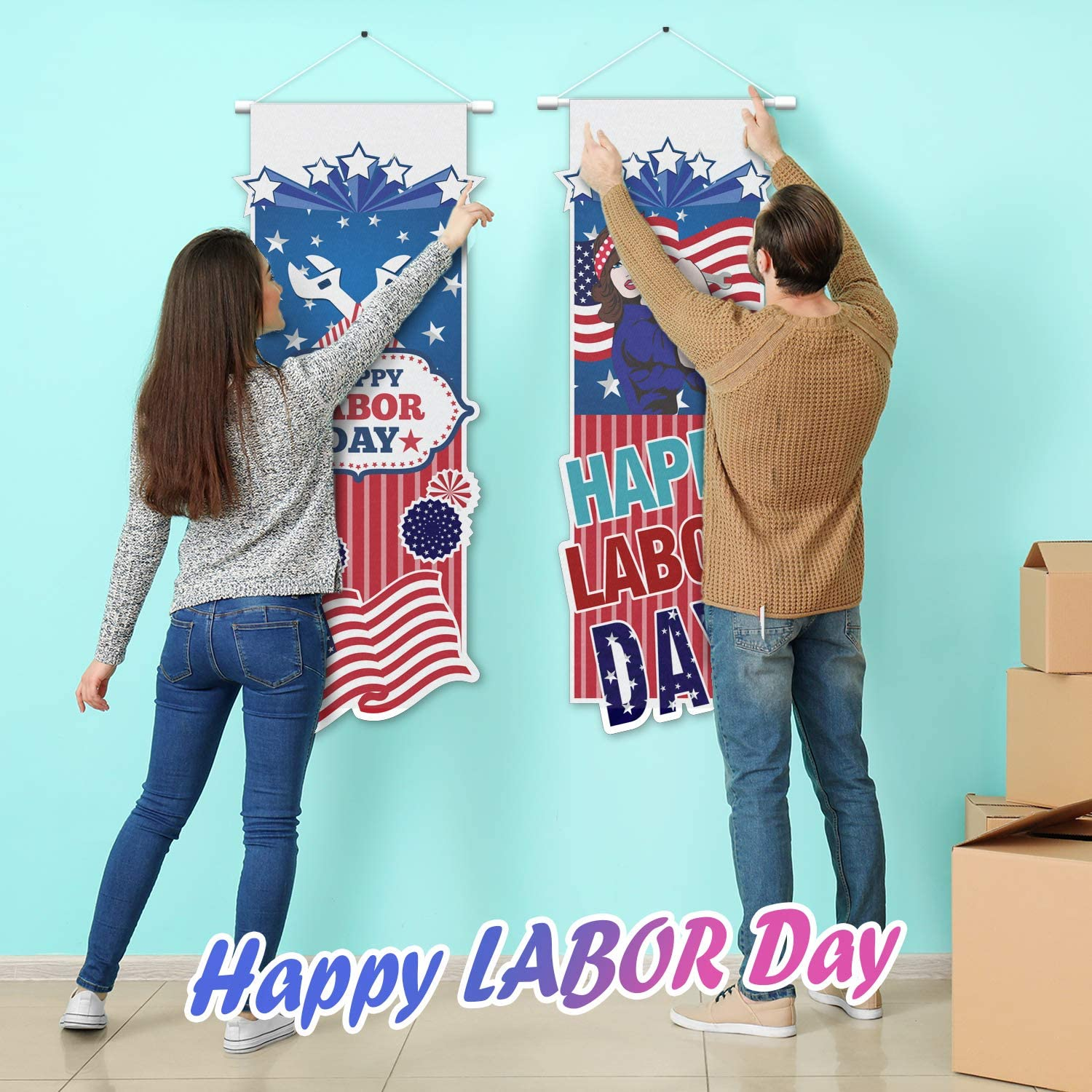 LINGPAR Happy Labor Day Door Banner USA American Flag Hanging Yard Porch Sign Welcome Celebrate Labor Day Party Decorations Supplies