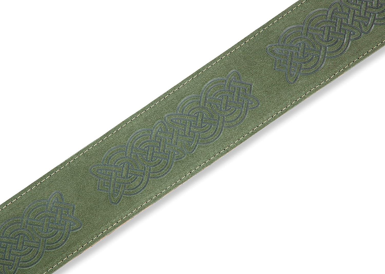 motivo nodo celtico Levys Leathers MS26CK-GRN Tracolla per chitarra 6,3 cm in pelle scamosciata