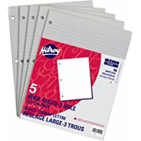 Hilroy 51254 Notepads, Wide Ruled, 3-Hole Punched, 8-3/8x10-7/8-Inch, 96-Sheets, 5/Pack