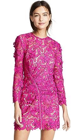 01e302849d8f Amazon.com: Self Portrait Women's 3D Lily Mini Dress, Fuchsia, 10 ...