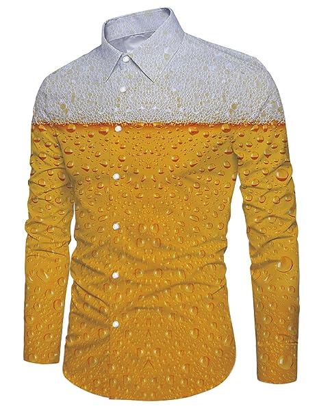 Loveternal Mens Funky 3D Estampado Camisa Manga Larga Botones Abajo Slim Fit Cerveza Shirt Amarillo M
