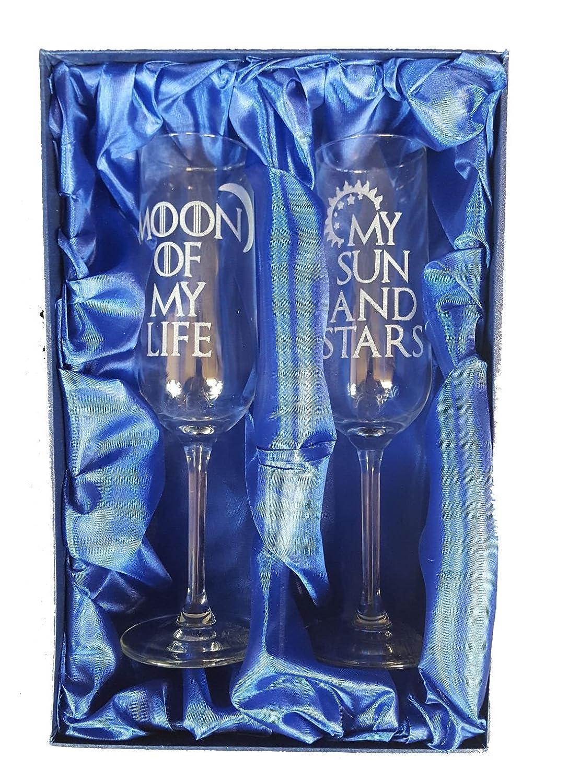 """Game of Thrones inspiriert """"My Sonne und Mond, Sterne Of My Life"""" Paar Champagner Flöten Derwent Laser Crafts Ltd"""