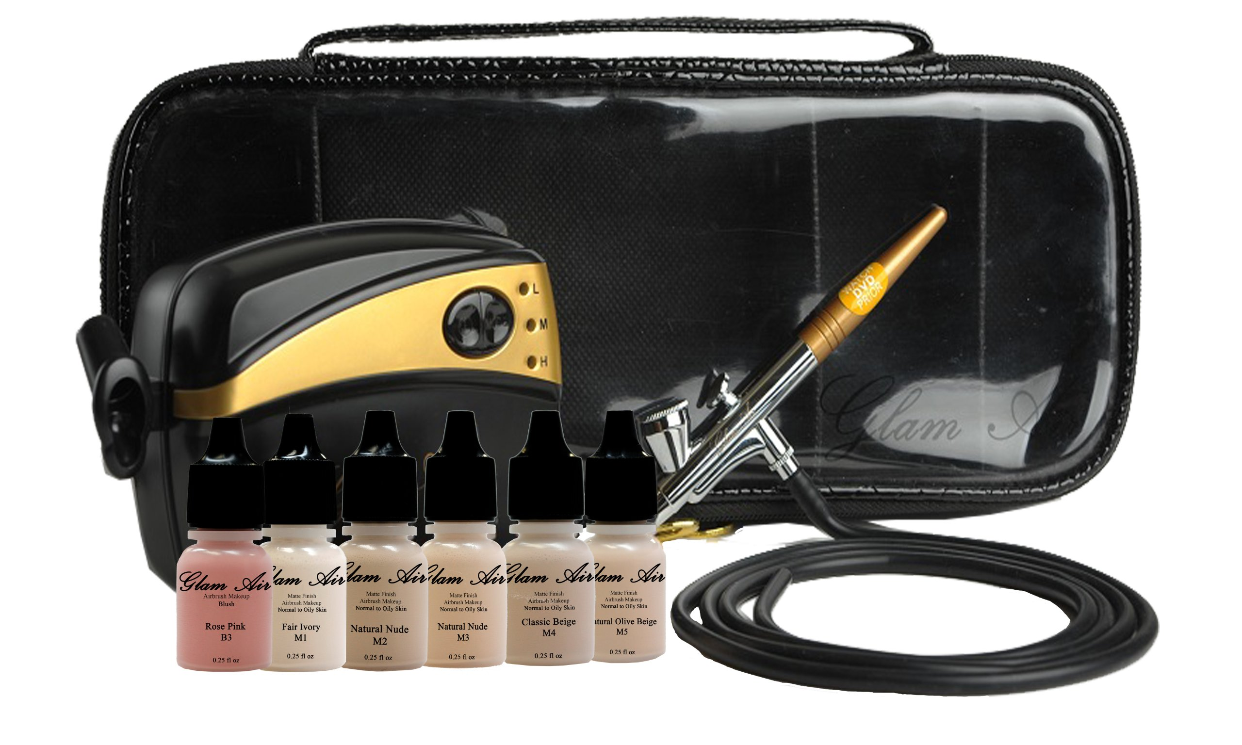 Glam Air Airbrush Makeup Machine System with 5 Dark Matte Shades of Foundation and Airbrush Blush light