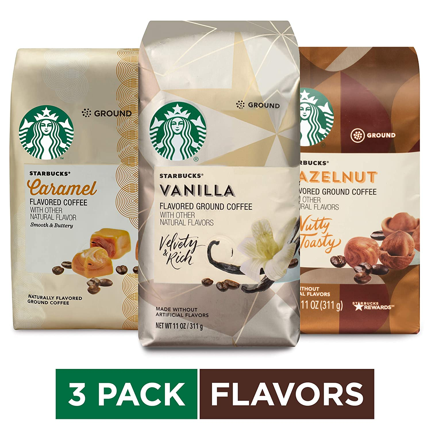 Starbucks Flavored Ground Coffee Variety Pack, 11 Ounce (Pack of 3)