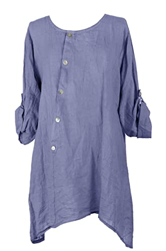 Ladies Women Italian Lagenlook Diagonal Button Detail Front Asymmetric Hem Linen Tunic Top Blouse On...