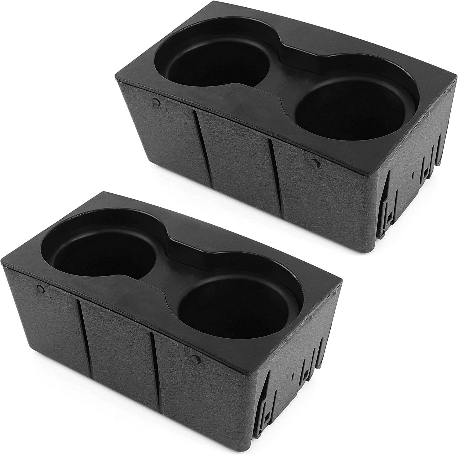 Red Hound Auto 2 Cup Holder Inserts Holds 4 Cups Compatible with Ford Super Duty F-250/F-350/F-450/F-550 2011-2016 fits Front Center Floor Mounted Console (Flow Through Style) Black Beverage Holder