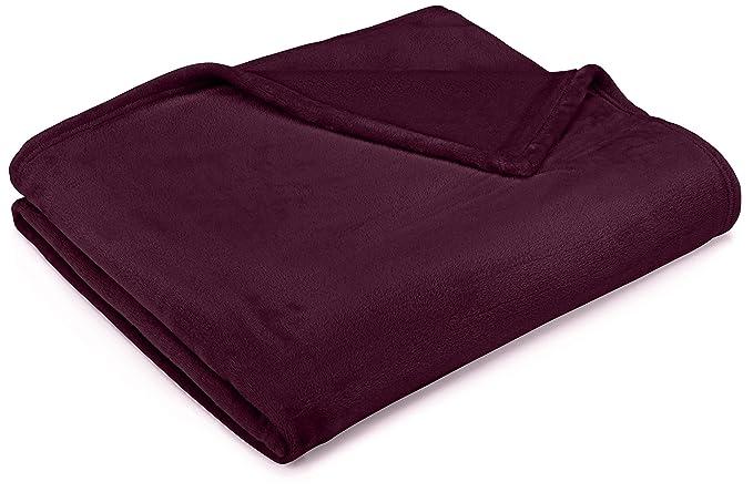 Pinzon Velvet Plush Blanket - Twin, Aubergine