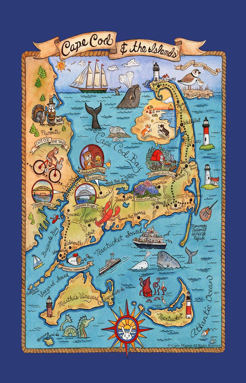 Cape Cod Kay Dee Designs F2162 Adventure Destinations Poster Style Tea Towel