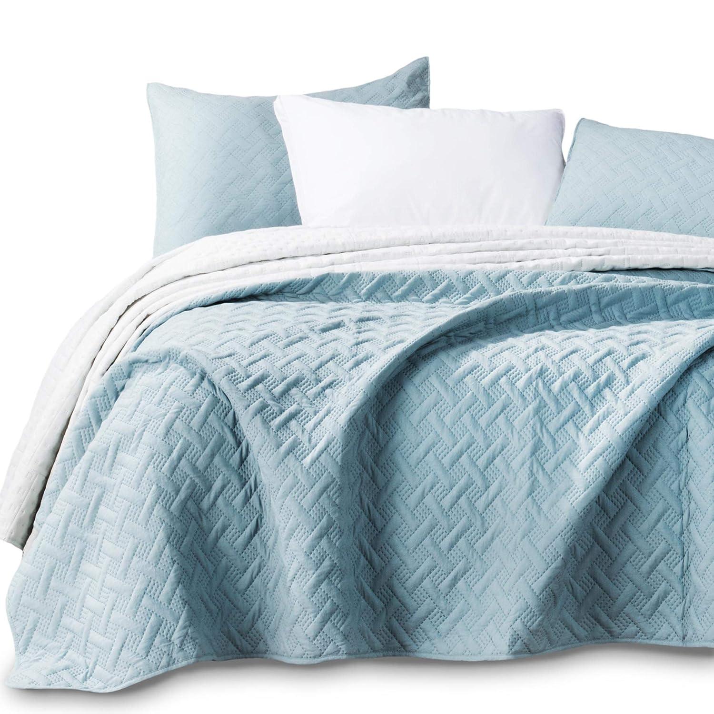 Kasentex Quilted Coverlet Mini Set-Best Lightweight Blanket-Super Soft-Reversible, Twin + 2 Shams, Aqua Green/Fairest Jade KXW1803-GN