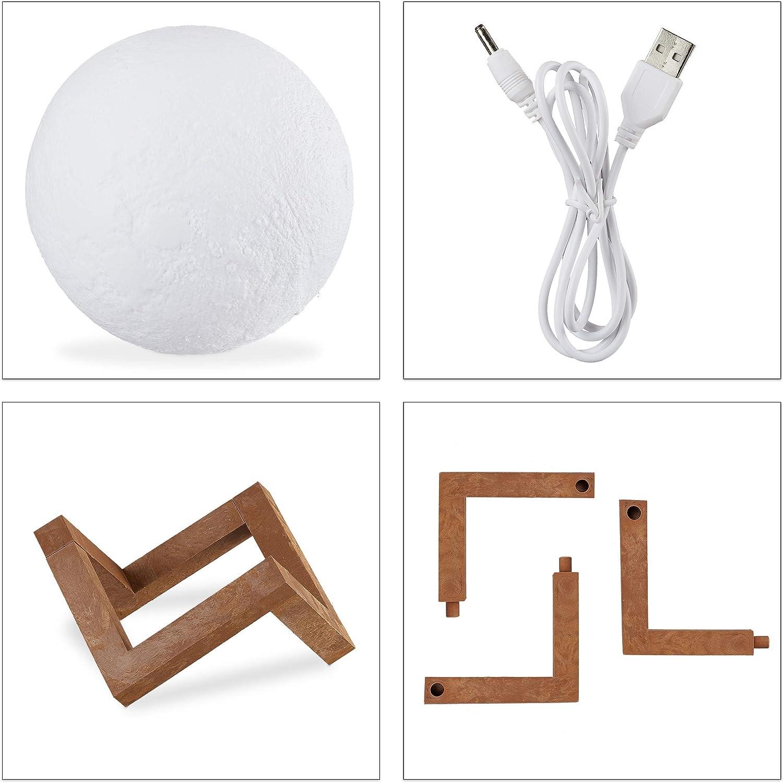 Relaxdays Lámpara de Luna 3D, Dos Colores, Ajustable, Táctil ...