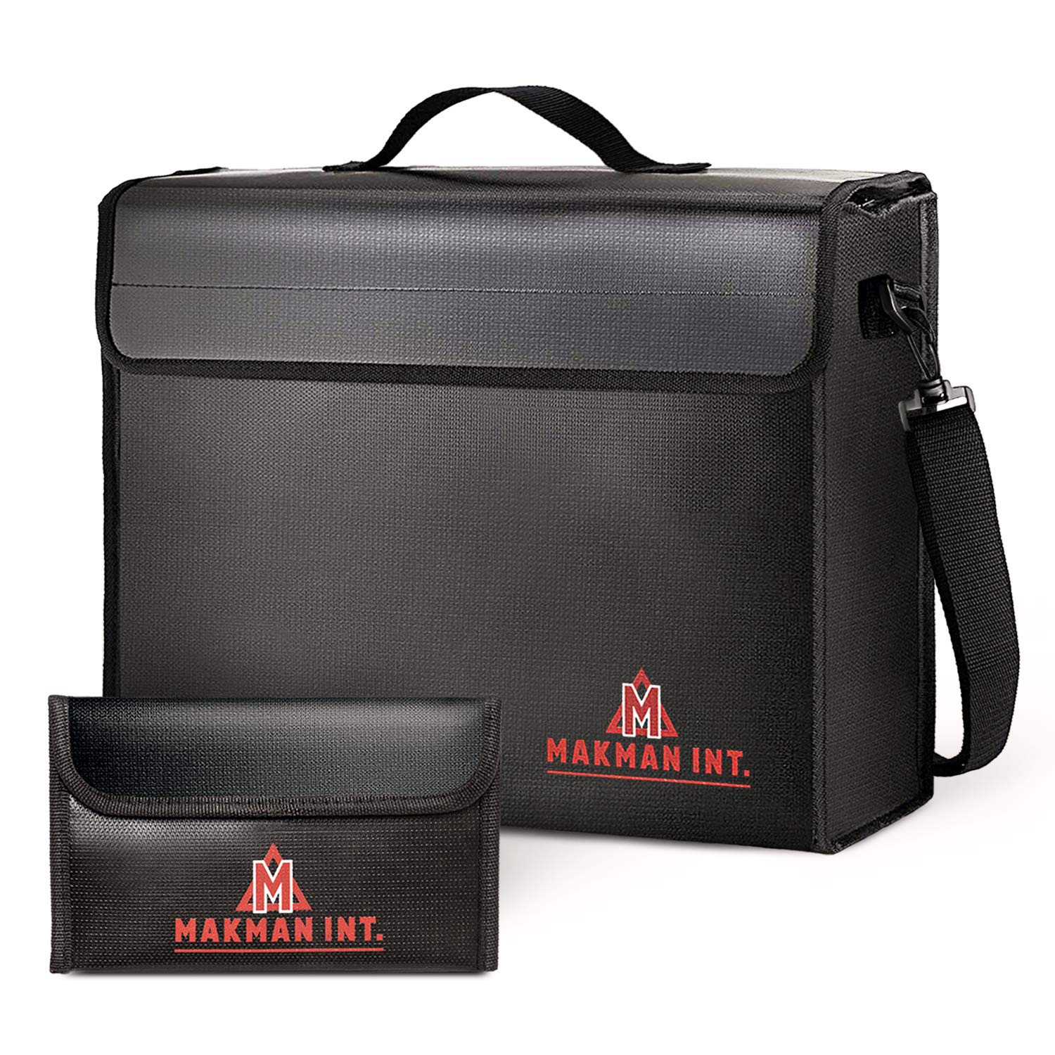 MakMan int. Large (17 x 12 x 5.8 inches) Fireproof Bag with Bonus Bag, Fireproof Bag for Documents & Money, Fireproof Safe & Water Resistant Bag for Money & Documents, Fireproof Money Safe Bag