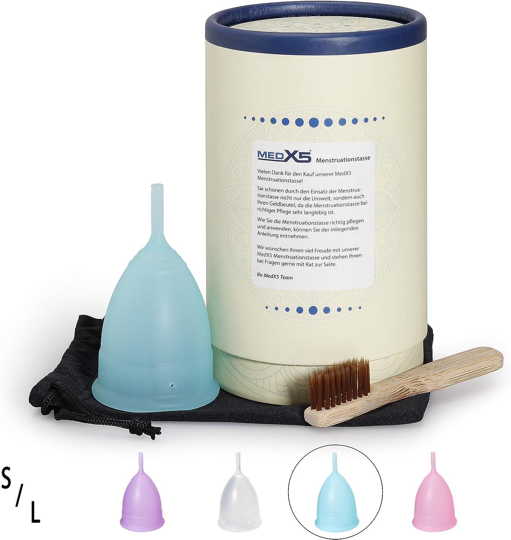 MedX5 sac et bo/îte cadeau Taille S Bleu Coupe menstruelle en silicone m/édical avec brosse de nettoyage Upgrade 2020