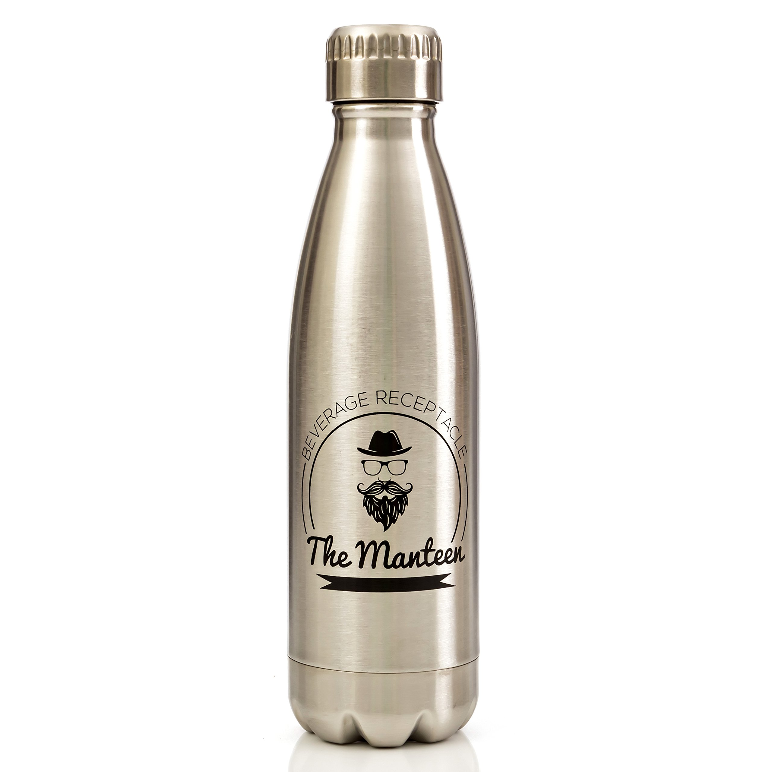 The Manteen Great Gifts For Men!, Keeps Your Beverage Hot or Cold all day, Stainless Steel Water Bottle, Double Walled Insulated