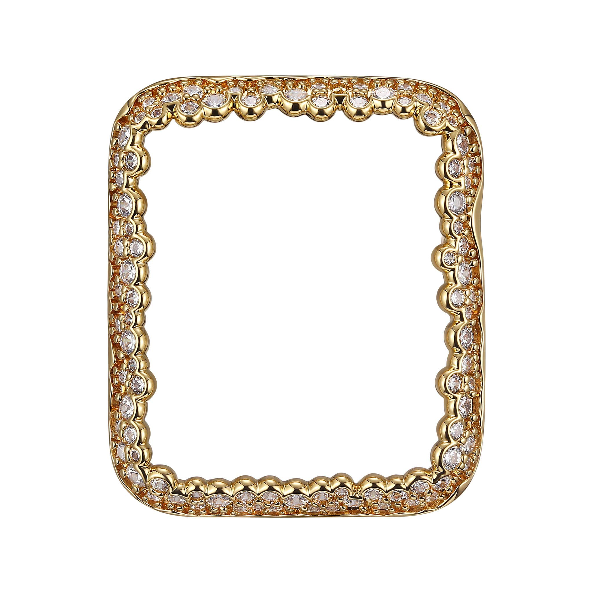 18K Yellow Gold Plated Champagne Bubbles Jewelry-Style Apple Watch Case with Swarovski Zirconia CZ Border - Small (Fits 38mm iWatch)