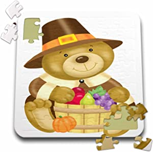 3dRose Cute Thanksgiving Bear with A Barrel of Fall Food Illustration - Puzzle, 10 by 10-inch (pzl_216823_2)