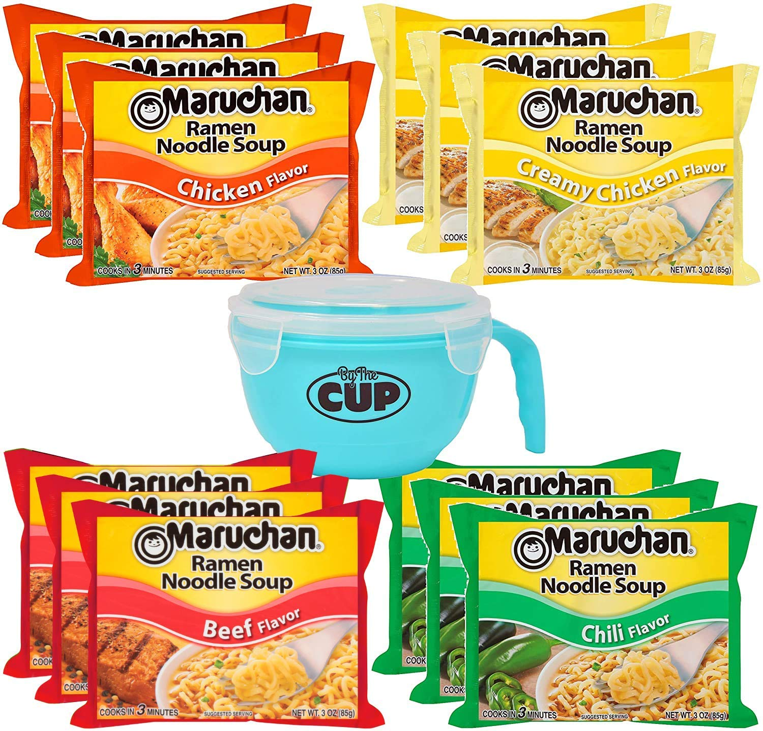 Maruchan Ramen Variety 4 flavors, Pack of 12 + By The Cup Microwavable Soup Bowl