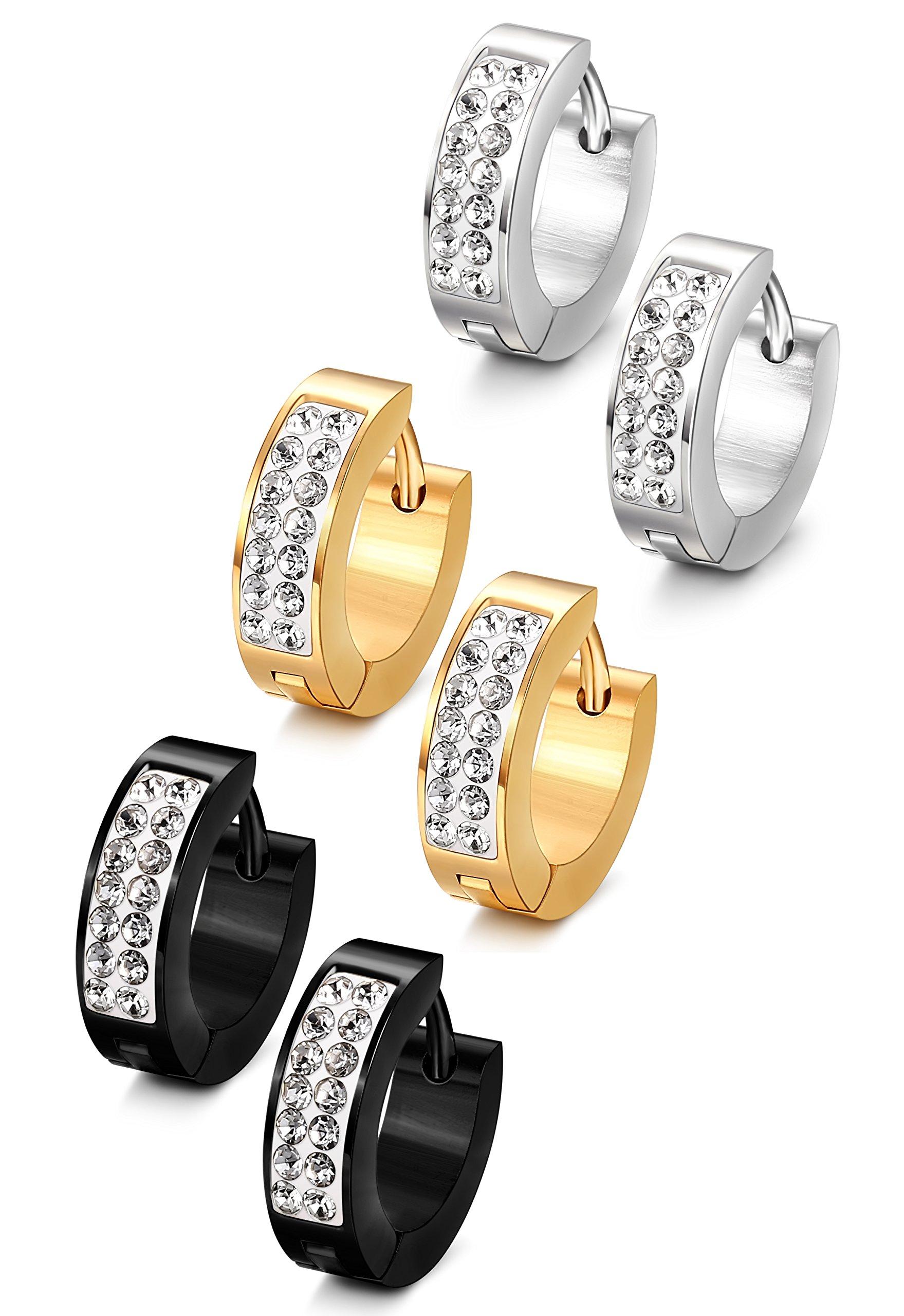 Jstyle Stainless Steel Womens Mens Hoop Earrings Huggie Earrings CZ Piercings 3 Pairs 18G
