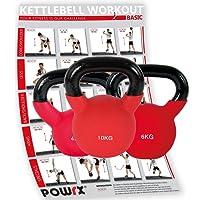 POWRX 3er Kettlebell Set inkl. Workout | Kugelhantel 4kg 6kg und 10kg | Handgewicht aus Eisen mit Neopren | Ideal für Fitness Krafttraining | Gesamtgewicht 20kg