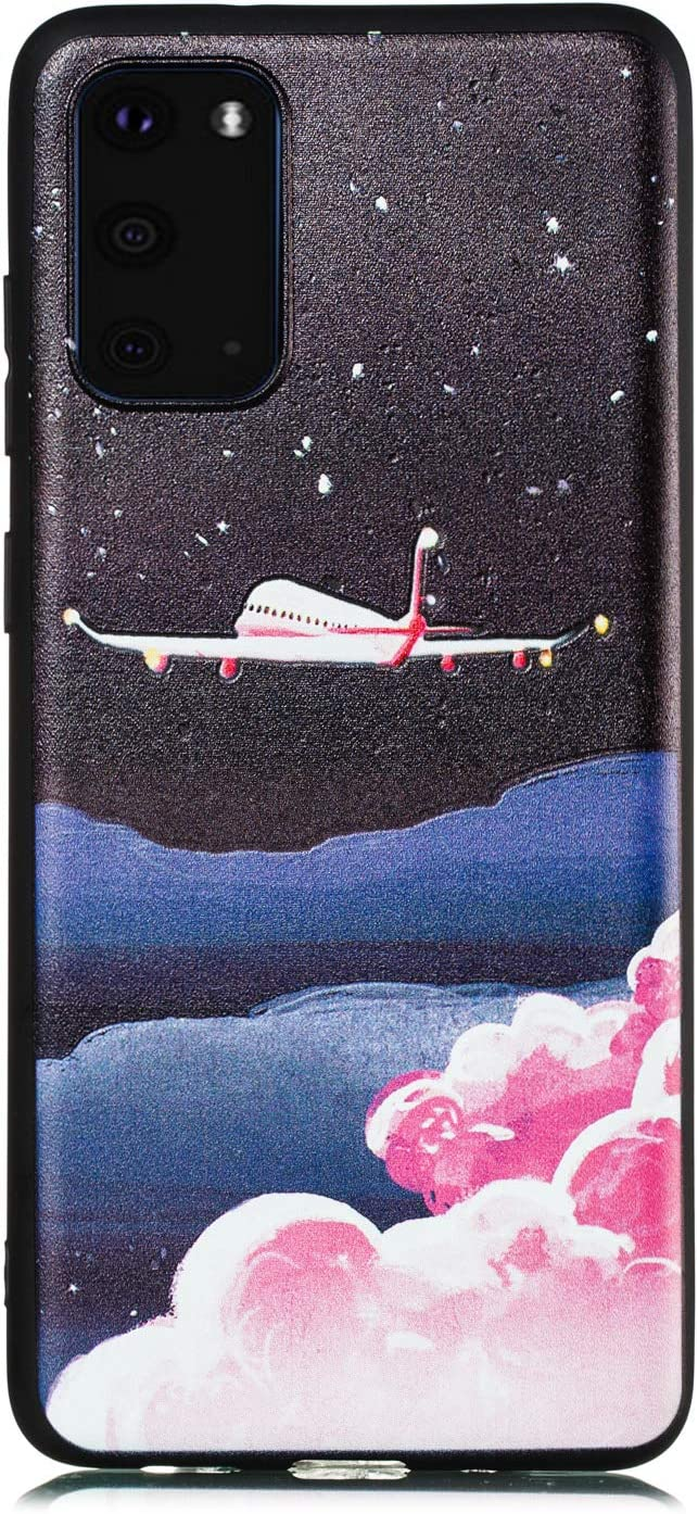Shinyzone Black Silicone Case for Samsung Galaxy S20 Plus 6.7 inch,Ultra Slim Soft Matte Anti Fingerprints Shell with Funny Prints Anti Scratch Flexible TPU Protective Back Cover,Colorful Feather