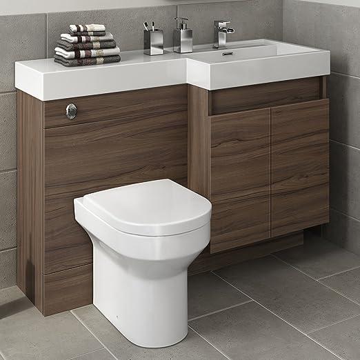 Ibathuk 1200 Mm Modernes Walnuss Badezimmer Unterschrank Waschbecken