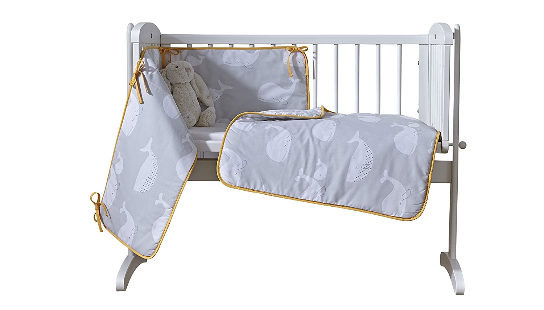 Clair de Lune Grey/Mustard Yellow Whales Crib/Cradle Quilt & Bumper Bedding Set CL5648