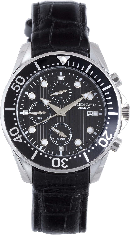 Rudiger Men s R2001-04-007L Chemnitz Black IP Black Dial Chronograph Diving Watch