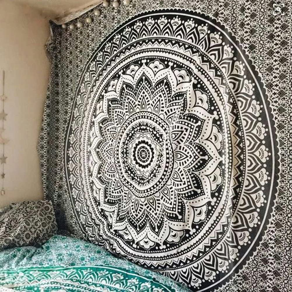 QuanCheng Indian Mandala Wall Hanging Tapestry Ombre Tapestry Hippie Bohemian Black Mandala Wall Hanging Tapestry Aesthetic Tapestry Psychedelic Trippy Tapestry for Bedroom Home Decor.82x59Inch