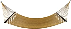 Project One 10FT Polyester Soft-Spun Rope Hammock, 51inch Large Double Wide Two Person with Spreader Bars - for Outdoor Patio, Yard, and Porch (Tan)