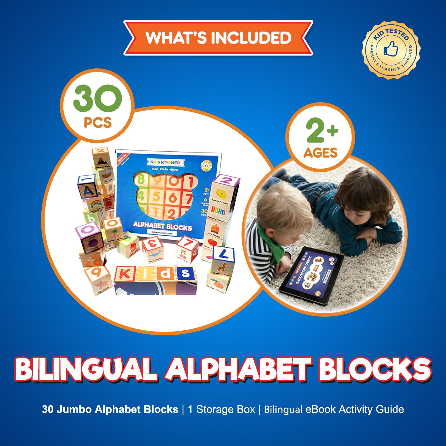 Amazon.com: ABC Stacking and Learning Alphabet Puzzle Building Blocks Kids Toys | Montessori Educational Toddler Games Bilingual Wooden Blocks for Baby, 1, ...