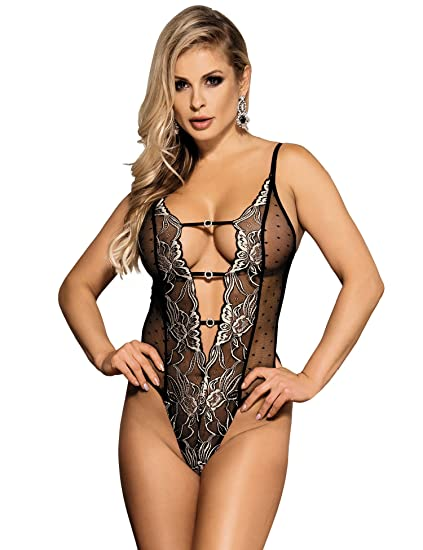 8bfb506f01 ohyeah Mesh Lingerie With Lace Embroidery Bodysuit Women Sexy Teddy Lingerie  US 4-6