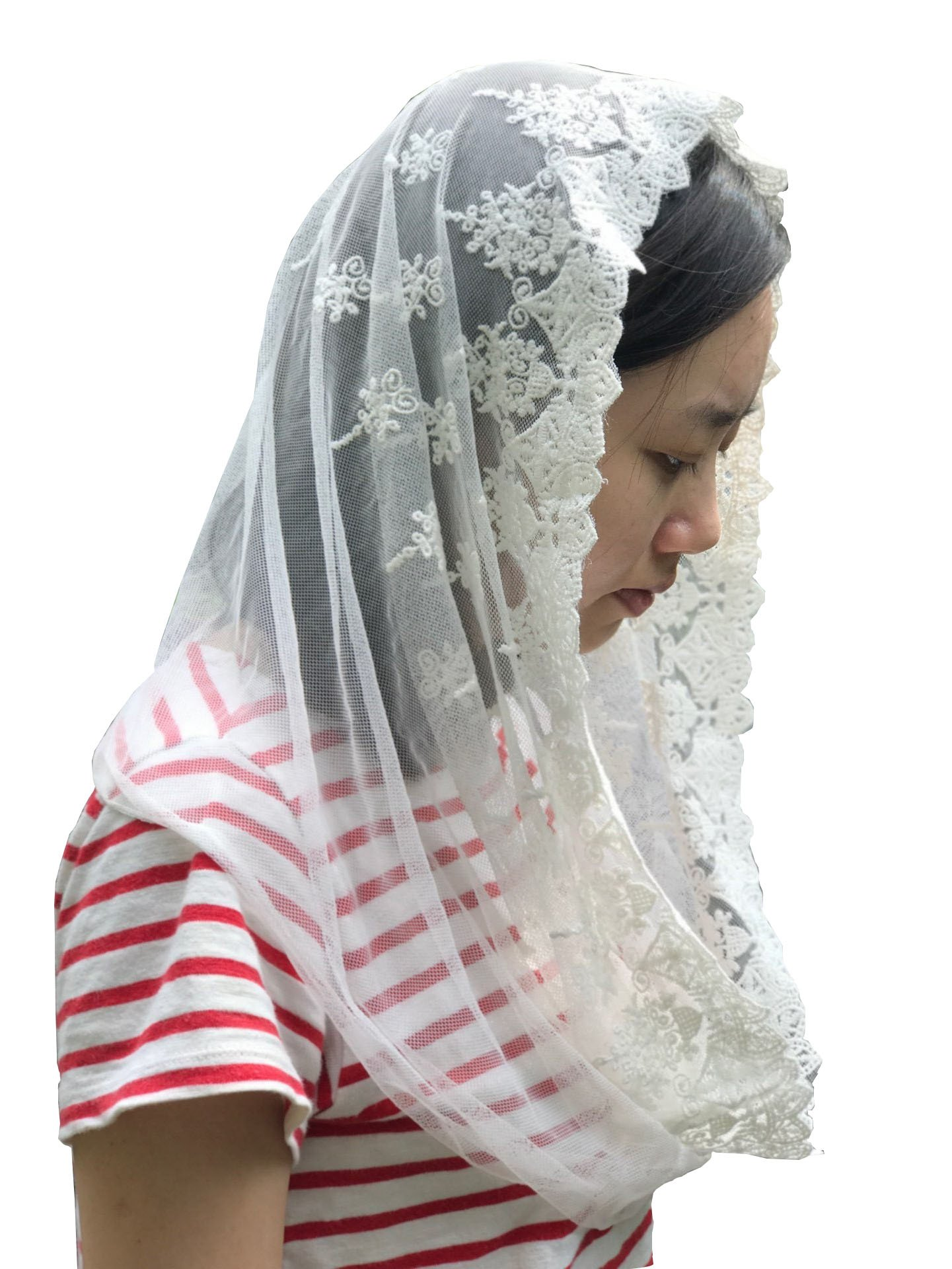 Vintage Veil Church Mantilla Lace Chapel Veil Vintage Mantilla V02 (Style two) (Ivory)