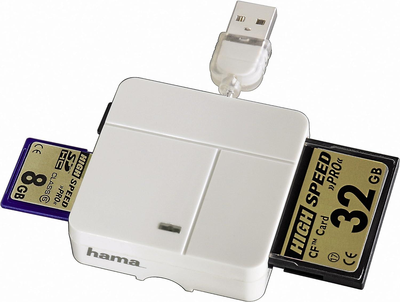USB 2.0 Color Blanco Hama 94125 Lector Universal de Tarjetas de Memoria