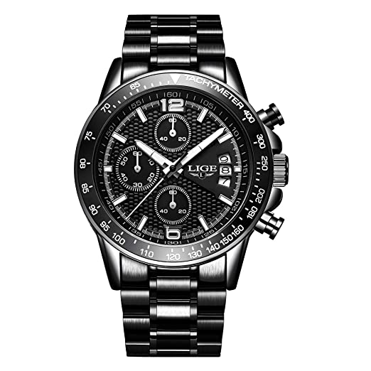 Relojes Hombres Marca de Lujo LIGE Moda Casual Reloj de Cuarzo analógico Hombre Acero Inoxidable Fecha Impermeable Reloj Deportivo Hombres Reloj Negro: ...