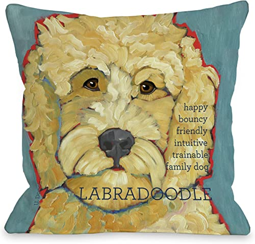 One Bella Casa Labradoodle 1 Throw Pillow, 16 by 16-Inch
