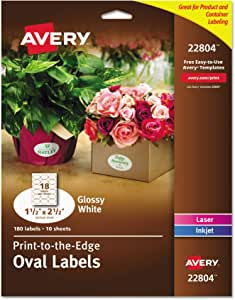 """Avery Oval Labels for Home Organization, 1.5"""" x 2.5"""", 180 Glossy White Labels (22804)"""