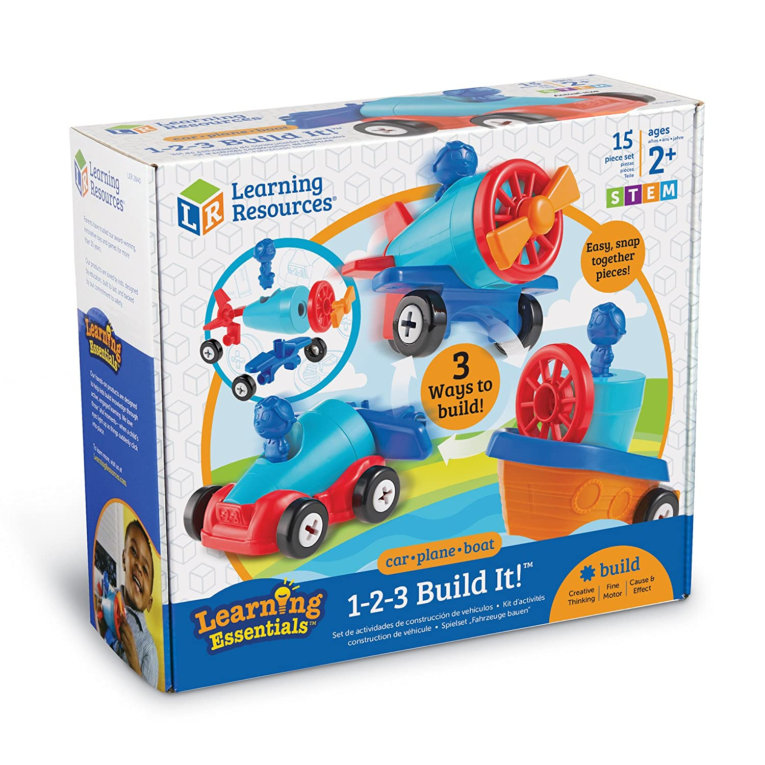 Learning Resources 1-2-3 Build It Rocket 15 Pieces Train Helicopter