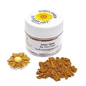 Aztec Gold Edible Luster Dust   Edible Powder & Dust   Food Grade Luster Dust for Decorating, Fondant, Baking   Polvo Matizador   Cakes, Vegan Paint, & Dust   Sunflower Sugar Art