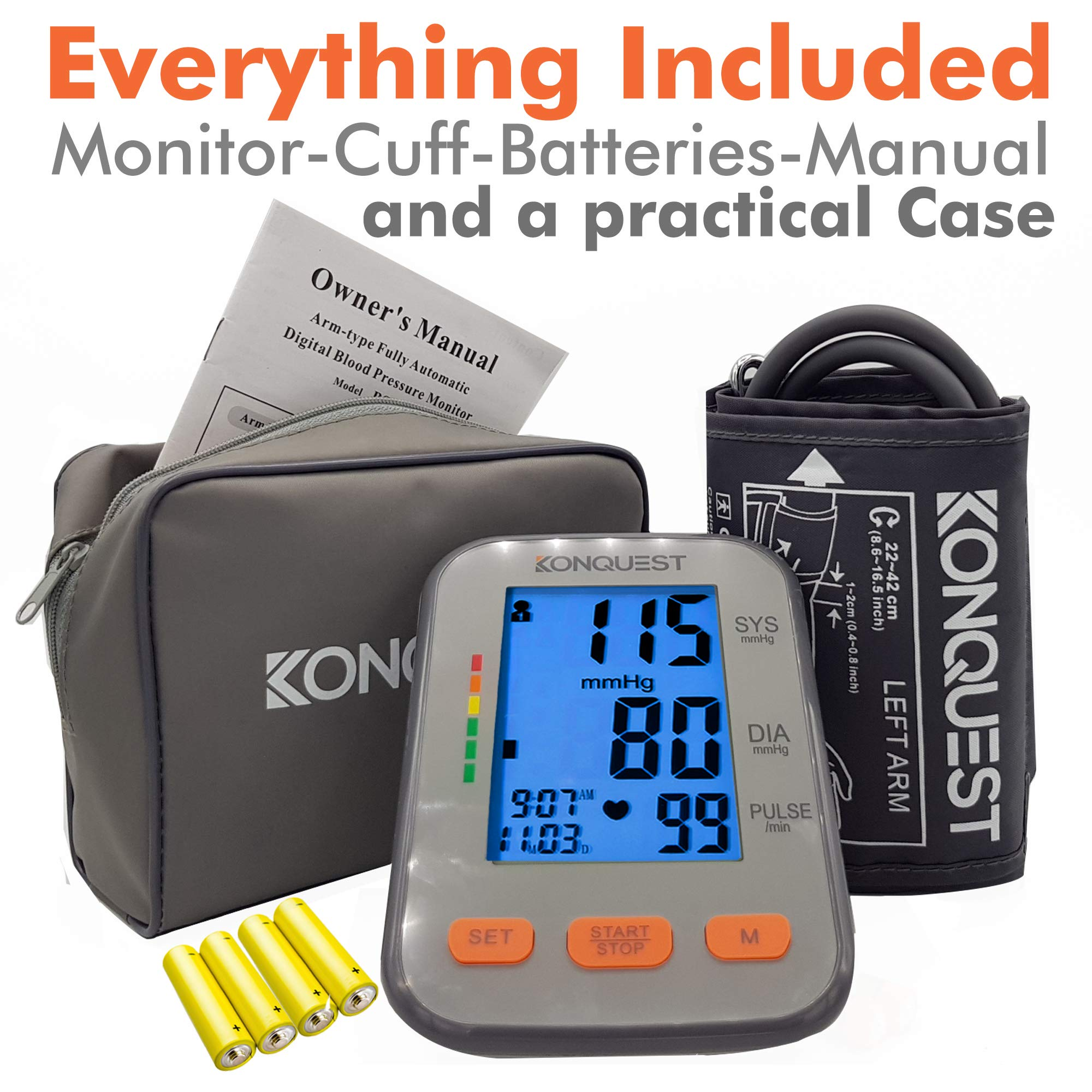 Konquest KBP-2704A Automatic Upper Arm Blood Pressure Monitor - Accurate, Adjustable Cuff, Large Backlit Display - Irregular Heartbeat & Hypertension Detector - Tensiometro Digital