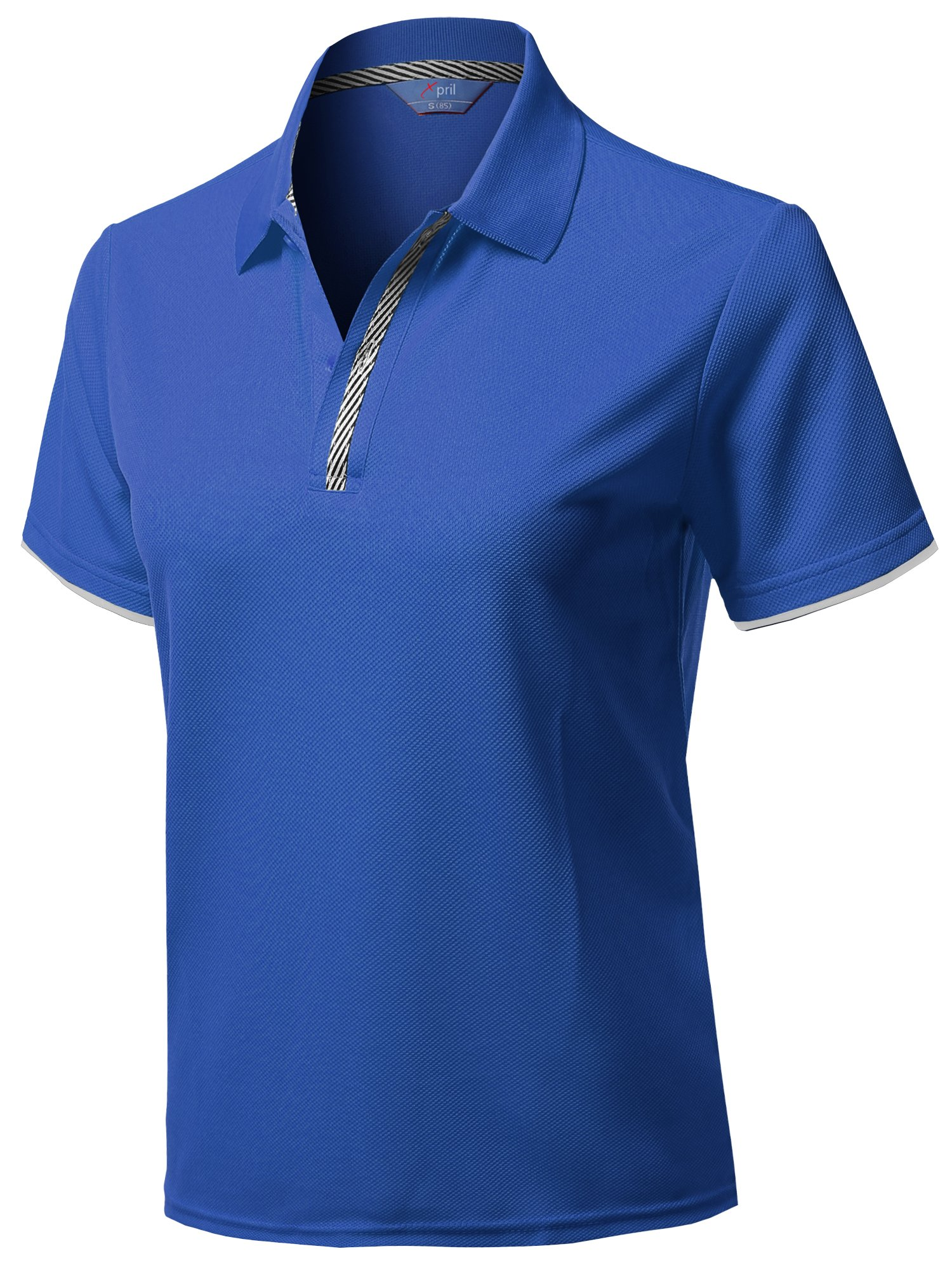 Xpril Solid Cool Dri-Fit Double Layered Short Sleeves Polo Blue Size M