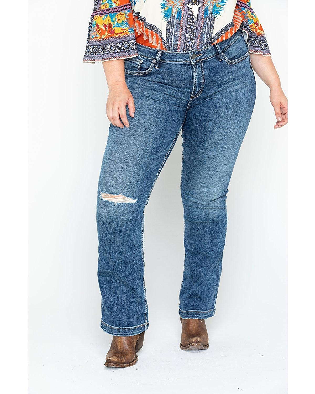 930f406bc72 Silver Jeans Co. Womens Plus Size Elyse Relaxed Fit Mid Rise Slim Bootcut  Jeans 2000257749 ...