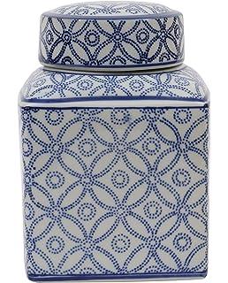 medium square blue and white ceramic ginger jar with lid - Ginger Jars