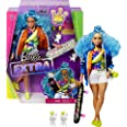 Barbie Extra Doll #4, Curvy, in Zippered Bomber Jacket with 2 Pet Kittens, Extra-Curly Blue Hair, Layered Outfit & Accessorie