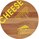 "Bisetti BT-26820""Cheese"" Beech Wood Round Cutting Board, 11.8"", Brown"