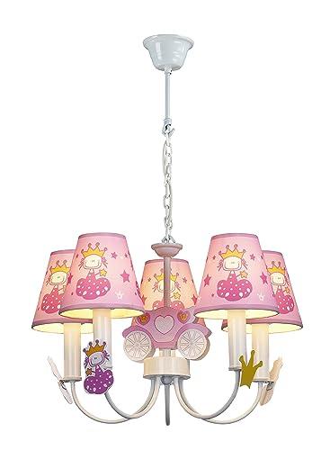 Hipkid HK-DLP198 - Lámpara de techo infantil, diseño de princesa, color rosa