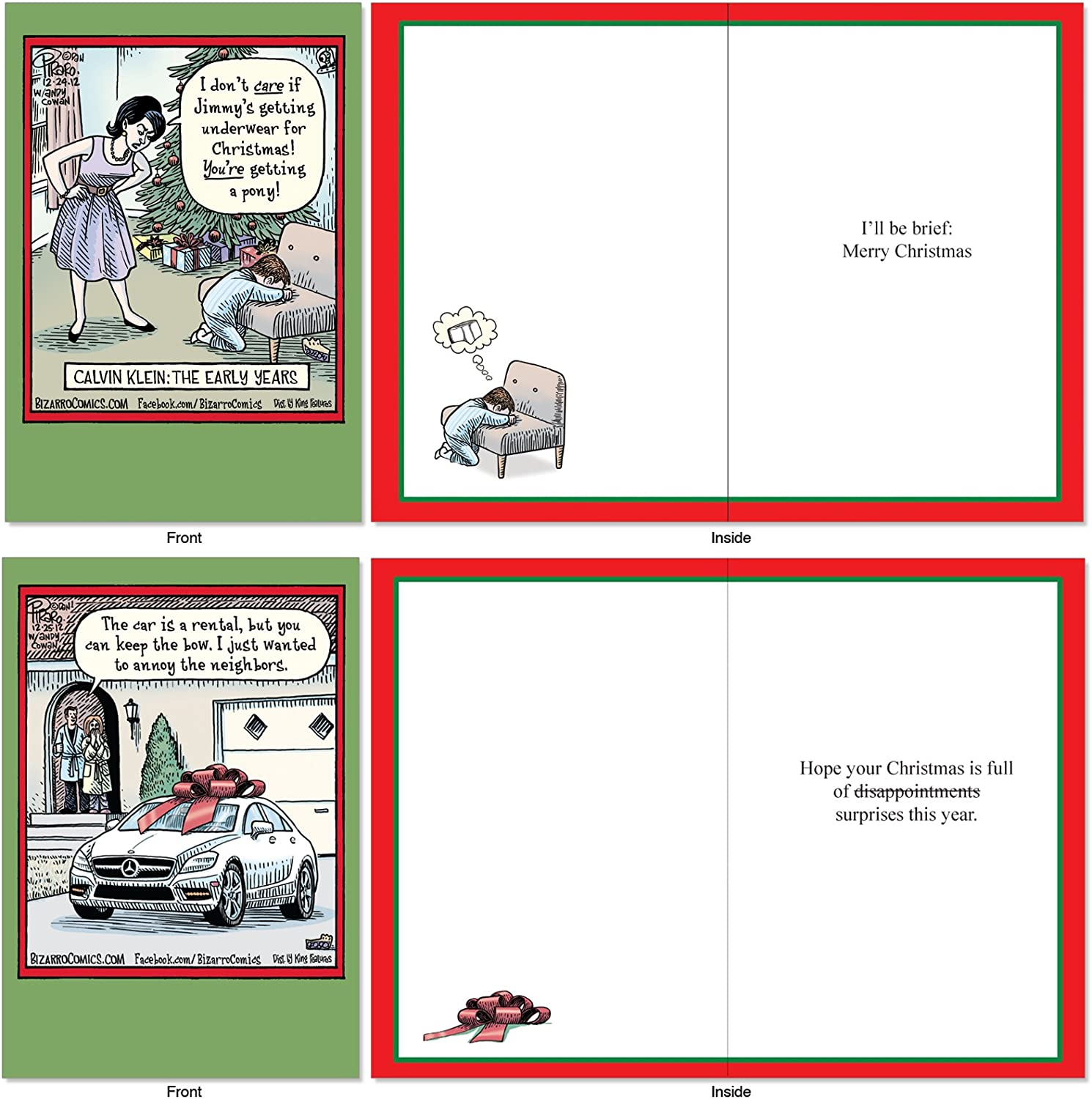 Boxed Cartoon Holiday Cards for Xmas A1256 Bizarro by Piraro Funny Assorted NobleWorks 10 Comic Merry Christmas Cards with Envelopes