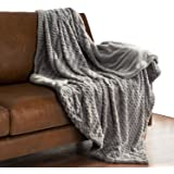 "Super Soft Faux Fur Warm Fleece Throw 50""x60"" Solid Grey with Fuzzy Fur Blanket by Bedsure"
