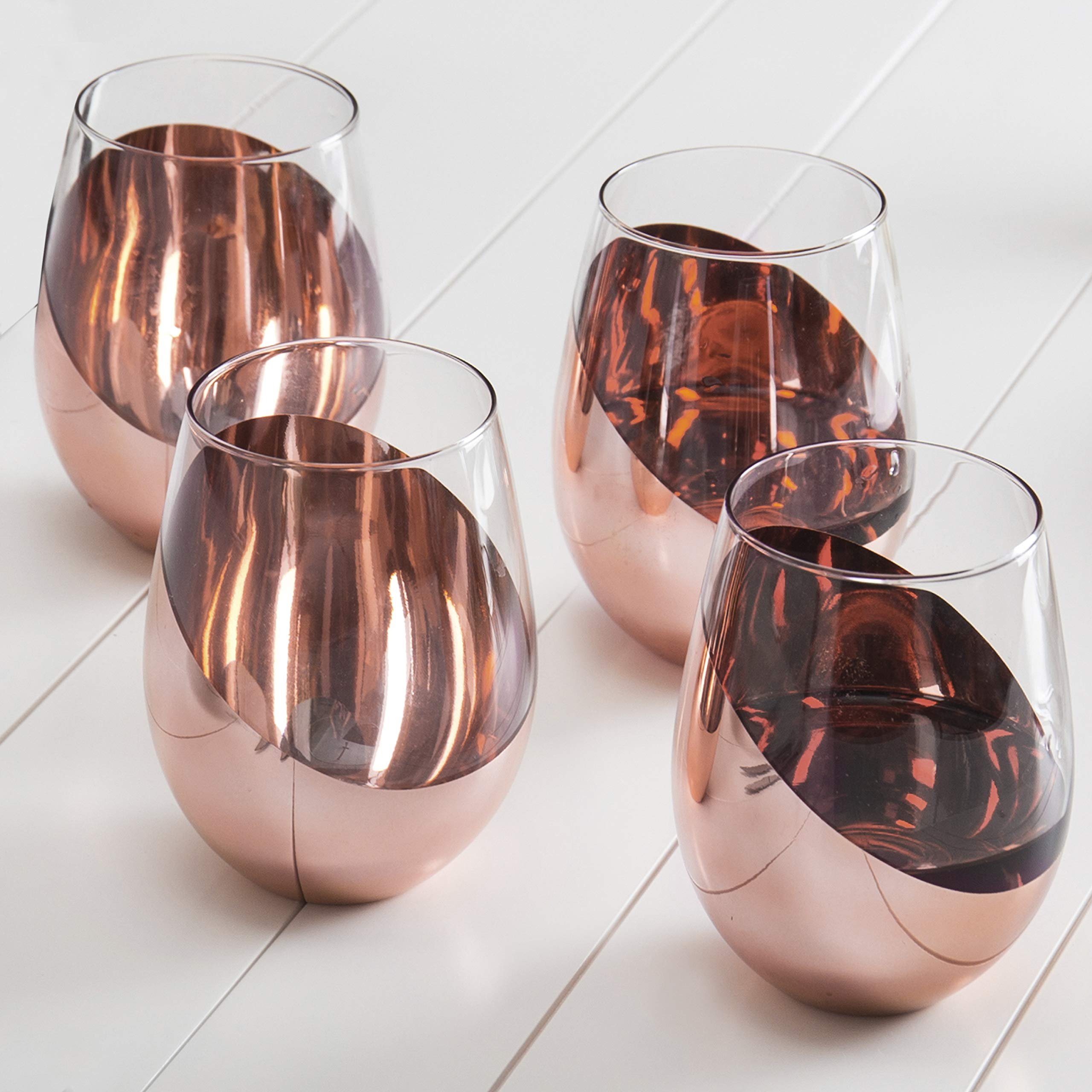 MyGift Modern Copper Stemless Wine Glasses, Set of 4 by MyGift