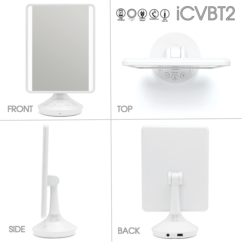 iHome 7 x 9 Reflect iCVBT2 Adjustable Vanity Mirror with Bluetooth Audio White White, 7 x 9 Flat Panel LED Lighting LED Lighting Siri /& Google Support USB Charging Hands-Free Speakerphone