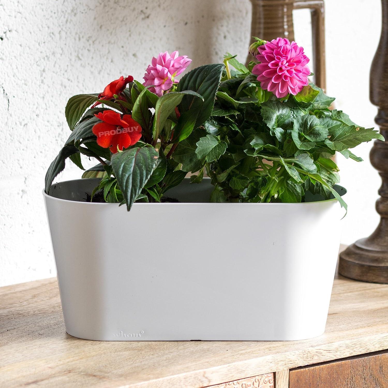 3 x WHITE Oval 30cm Plastic Plant Pot Cover Troughs ProdBuy Limited