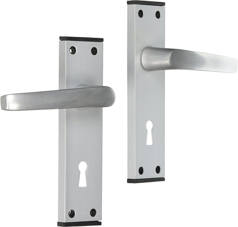 Merriway BH05805 Aluminium Door Handle Lock Set with Black Trim